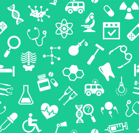 endocrinology: Medicine, green background, flat, seamless, vector. Medical services specialization. The profession of doctors. Medical instruments. White, flat pictures on a green field. Vector background. Illustration