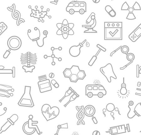 Medicine, white background, seamless, contour icons, vector. Medical services specialization. The profession of doctors. Medical instruments. Gray line drawings on a white field. Vector background. Illustration