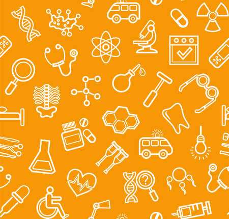 endocrinology: Medicine, orange background, seamless, contour icons, vector. White, line drawings, medical services and instruments on the orange box. Vector background.