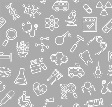 Medicine, gray background, seamless, contour icons, vector. White, line drawings, medical services and tools on a gray field. Vector background.