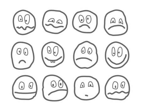 Memes, emotions, vector icons, round. Different emotions. Rough dark-gray figures on a white background. Drawn with a pen, simulation. Illustration