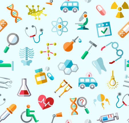 Medicine, colored background, seamless, blue, vector. Colored icons of medical services, and tools on a light blue field. Vector background. Stock Vector - 79467667