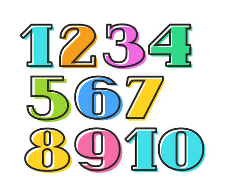 Colored numbers with black outline, vector. Colored numbers with serifs on a white background.