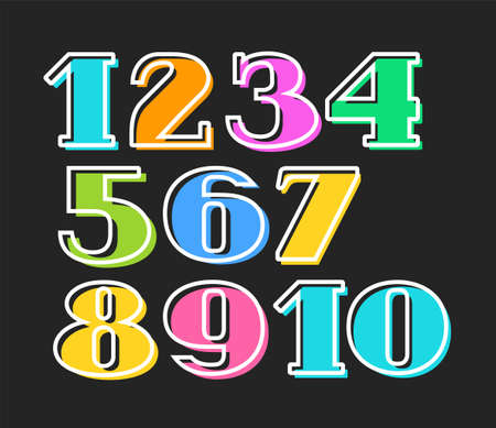 Colored numbers with white outline isolated on black background, vector.