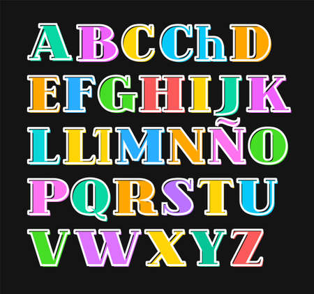 Spanish alphabet colorful letters, white outline, vector.Capital letters with serif on a black background. White outline is offset to the side. Illustration