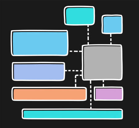 Diagram, chart, color, frame, text, blank, black background. A rectangular frame with a thin white outline. The outline is offset to the side. Vector template for information graphics.