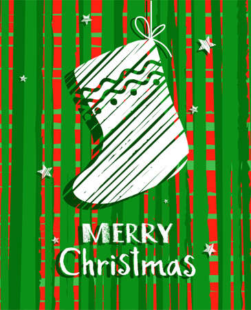 Christmas card with sock, green, vector. Green, mottled background white sock and Christmas greetings in English. Çizim
