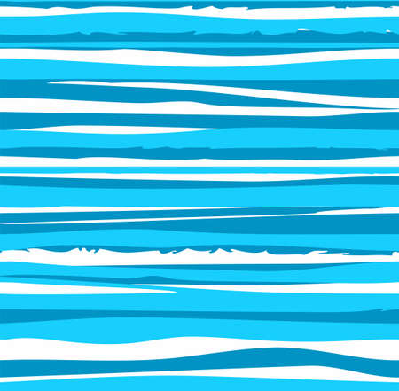 Uneven blue stripes, seamless pattern, sea waves, simulation, vector.Horizontal, wavy lines on white background. Vector pattern.
