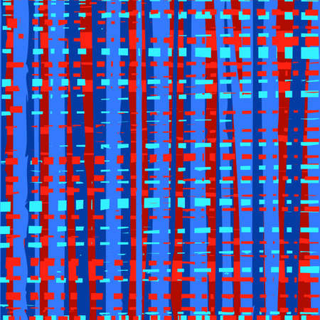 Intermittent, uneven lines seamless abstract background, blue and red, multicolored, pattern, vector. Vertical and horizontal blue and red stripes on a red background. Vector pattern. Weave, simulation.