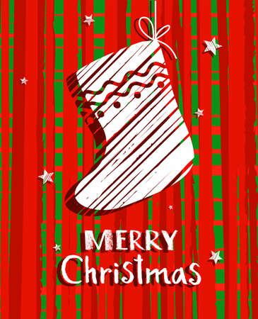 Christmas card with sock, red, vector. Red, mottled background, white sock and white inscription in Russian merry Christmas. Ilustrace
