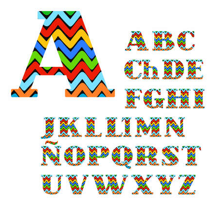 Capital letters with serifs.