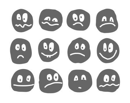Memes, emotions, vector icons, round, gray. Different emotions. Uneven dark gray images on a white background.