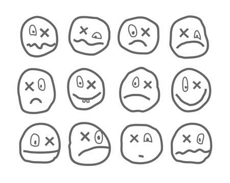 Memes, emotions, vector icons, round, with a cross. Different emotions. Uneven contour image on a white background. With the x instead of eyes. Illustration