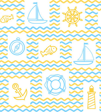 ship anchor: Nautical background, seamless, wave, zigzag, contour drawing, yellow and white. Yellow and blue line drawings of the attributes of sea travel. Vector white background.