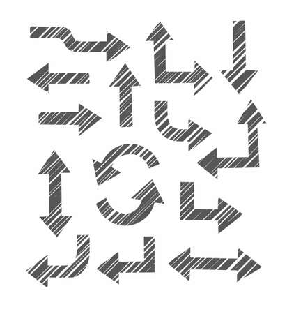 Arrows, cross-hatching diagonally, imitation, white background, vector. Thick arrows in different directions on a white background. Dark gray, diagonal hatching, simulation.