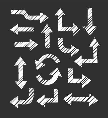 Arrows, cross-hatching diagonally, imitation, black background, vector. Thick arrows in different directions on a black background. White, diagonal hatching, simulation. Illustration