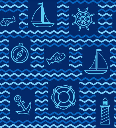 ship anchor: Nautical background, seamless, blue, wave, zigzag, contour drawing. Blue line drawings of the attributes of sea travel. Vector dark blue background. Illustration