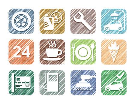 Auto service pictogrammen, auto, kleur potlood, arcering, simulatie, vector. Reparatie en onderhoud van de auto. Witte pictogrammen op een gekleurd gearceerd gebied.