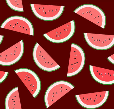 Ripe slices of watermelon on a dark Burgundy background.
