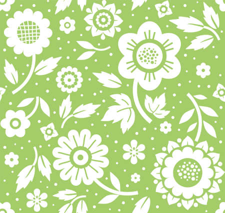 twigs: Flowers and twigs, background, seamless, decoration, green, vector. White flowers and branches with leaves on a green background. Floral seamless pattern.
