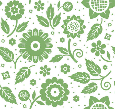 The flowers and leaves, decorative background, seamless, green and white, vector. The floral pattern. Green flowers and leaves on a white background. A fabulous decorative pattern. Çizim