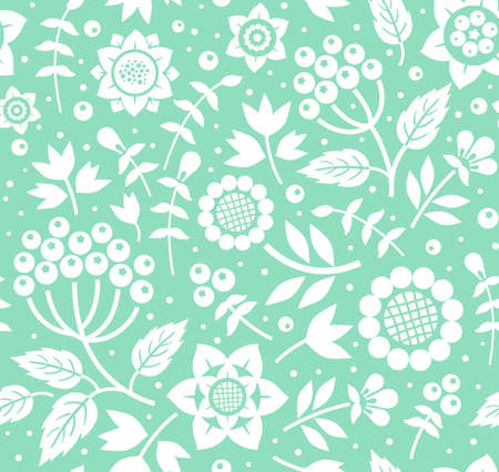 Berries and twigs, decorative background, seamless, mint, vector. White twigs with berries and flowers on mint background. Floral seamless pattern.