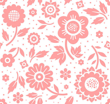 Flowers and twigs, background, seamless, decorative, pink and white, vector. Pink decorative flowers and branches with leaves on a white background. Floral seamless background.
