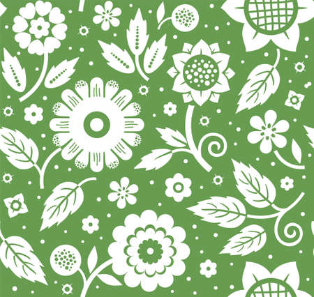 The flowers and leaves, decorative background, seamless, green, vector. White decorative flowers and leaves on a green background. Floral seamless pattern.