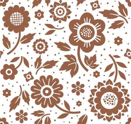 花や小枝、背景、シームレスな装飾的な白、茶色、ベクトル。茶色装飾的な花は、白い背景の上の葉を持つ枝。花のシームレスな背景。