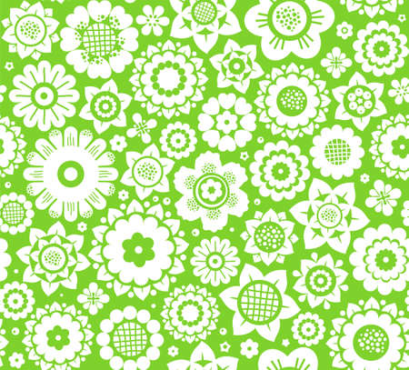 Flowers, background, seamless, green and white, vector. White decorative flowers on a green background. Floral seamless background.