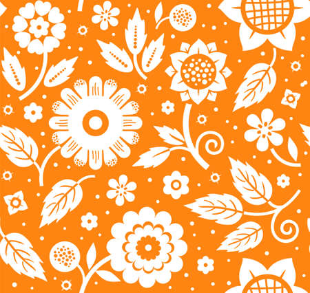 The flowers and leaves, decorative background, seamless, orange, vector. White decorative flowers and leaves on orange background. Floral seamless pattern. Çizim