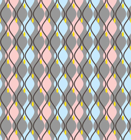 Curves, abstract, decorative background, seamless, gray-blue, vector. Vertical pink and blue wide lines on a gray field. Line rhythmically constrict and dilate. Geometric, colored background.