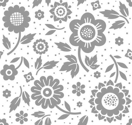 花や小枝、背景、シームレスな、装飾、白、ベクトル。白い背景に葉を持つ灰色の装飾的な花や枝。花のシームレスな背景。