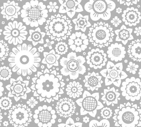 花、背景、シームレスな、白とグレーのベクトル。灰色の背景に白い装飾花。花のシームレスな背景。