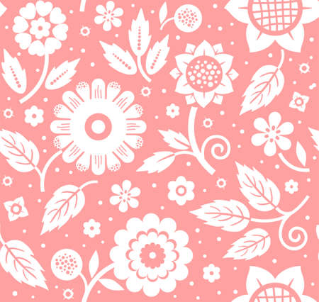 The flowers and leaves, decorative background, seamless, pink, vector. White decorative flowers and leaves on a pink background. Floral seamless pattern. Çizim
