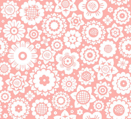 Flowers, seamless background, pink and white, vector. White decorative flowers on a pink background. Floral seamless background. Çizim