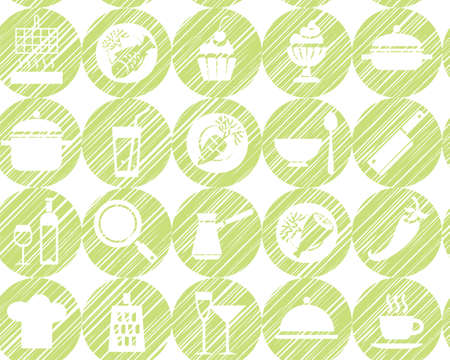 Kitchen, cooking, background, seamless, green, vector. Circular icons with food, drinks and utensils the painted strokes on white background. Hatch green pencil simulation. Vector seamless pattern.