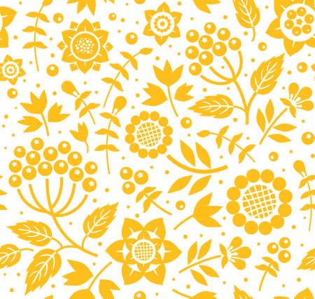 Berries and twigs, decorative background, seamless, white and yellow, vector. Yellow twigs with berries and flowers on white background. Floral seamless pattern. Stock Illustratie