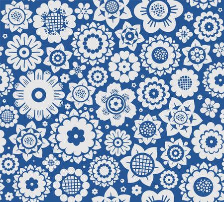 花、背景、ベクターでシームレスに青、灰色。青色の背景に灰色の装飾的な花。花のシームレスな背景。