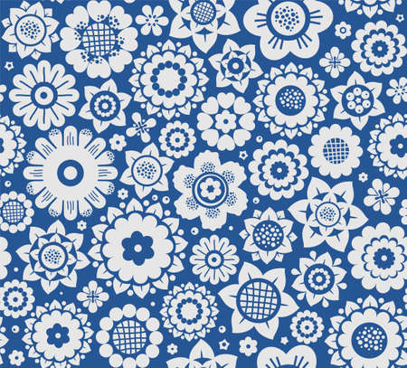 Flowers, background, seamless, gray-blue, vector. Gray decorative flowers on a blue background. Floral seamless background. Çizim