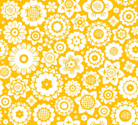 Flowers,  white and yellow, . White decorative flowers on a yellow . Floral seamless .