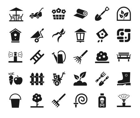 Landscape design, icons, monochrome, vector. Arrangement of land. Equipment for horticulture. Dark gray, flat icons on white background.