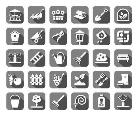 Landscape design, icons, monochromatic, gray, vector. Arrangement of land. Equipment for horticulture. White flat icons on gray background with shadow. Ilustração