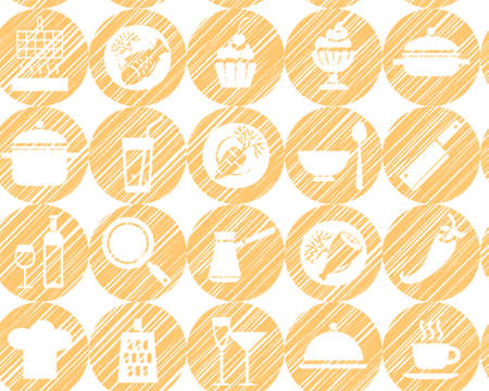 Kitchen, cooking, background, seamless, yellow-orange, vector. Circular icons with food, drinks and utensils the painted strokes on white background. The yellow shading pencils, simulation. Vector seamless pattern.