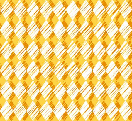Diamonds, pattern, shading, yellow, seamless background, vector. Vertical stripes of white diamonds on a yellow background. Diamonds drawn with shading. Geometric background. Illustration