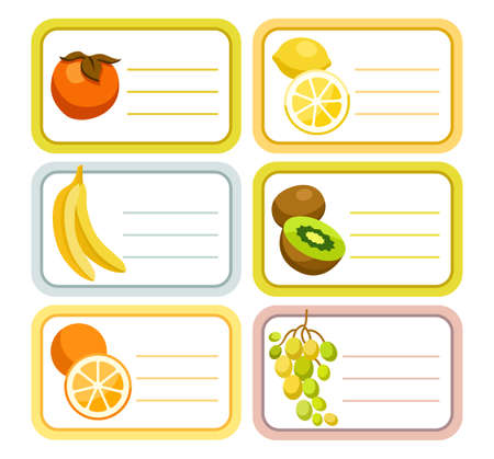 Fruit, labels, stickers, color, vector. Rectangular white label with colored outline and a fruit. Fruit from the southern countries. The stickers on the jars with the canning. Illustration