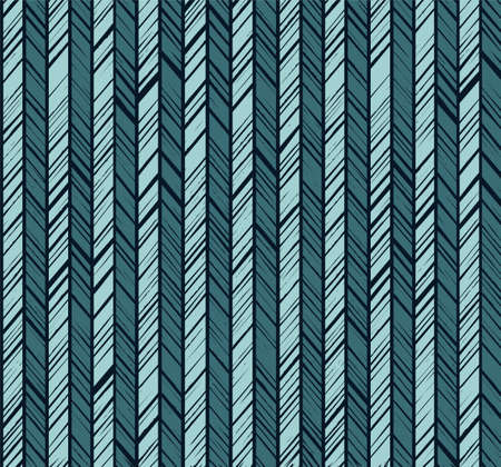 Pattern herringbone, seamless pattern, blue vector. Vertical stripes with light blue diagonal lines on a dark blue background.