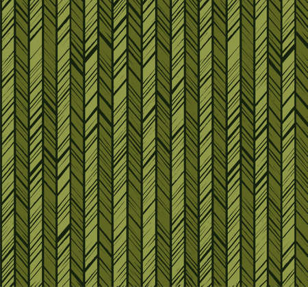 Pattern herringbone, seamless background, green, vector. Vertical stripes with green diagonal strokes. The uneven strokes of the imitation.