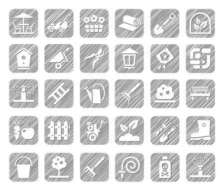 ladder  fence: Landscape design, icons, monochrome, vector, shading with a pencil. Arrangement of land. Equipment for horticulture. White icons on gray shaded field.