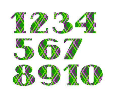Numbers, colored lines on green background, vector. Green numerals with serif.